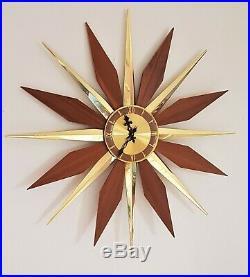 Vintage MCM Germany Large Starburst Sunburst Mid Century Wall Clock Wood Brass