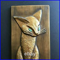 Vintage MCM Mid Century 3D Chalkware CAT Weeping Gold Wall Plaque Art Decor