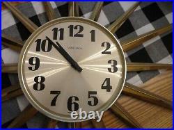 Vintage MCM Verichron 37 Brass Atomic Starburst Wall Clock