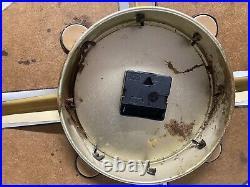 Vintage MCM Verichron Brass Pressboard Starburst Wall Clock Dims In Pics