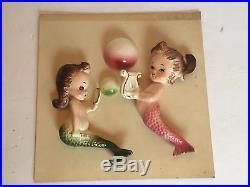 Vintage MERMAID Set Wall Plaques Bath Decor Mid Century Pink Green Bradley Co