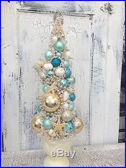 Vintage MERMAID wall plaque RHINESTONE Bottle Brush Tree
