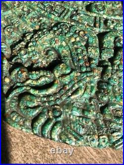 Vintage Malachite Composite Mayan Calendar Medallion Aztec Wall Art Plaque 11.5