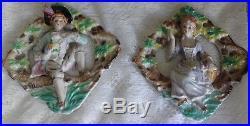 Vintage Mark Japan Victorian Couple Bisque Porcelain Figurine Wall Pocket Plaque