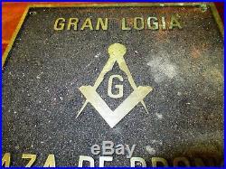 Vintage Mason Lodge Bronze Sign Wall Plaque Gran Logia Raza De Bronce 12 X 12