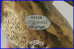 Vintage Maxam Solid Brass Bull Statue Figure Heavy Wall Street Taurus 12L x 5h
