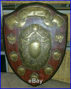 Vintage Medieval Coat Of Arms Royal Shield Rustic Hanging Wall Plaque