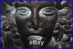 Vintage Medusa Plaster Wall Plaque Sculpture-Large & Heavy-Raised Face-Mythology
