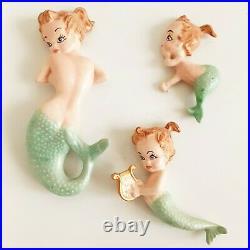 Vintage Mermaid & Babies Bathroom Wall Plaque Set Of Three