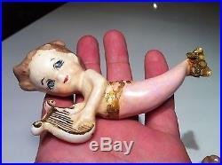 Vintage Mermaid Figurine Wall Plaque Hanging Set Pink with Blue Eyes