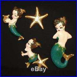 Vintage Mermaid Mom & Babies Wall plaque w rhinestones for Bath Decor
