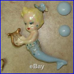 Vintage Mermaid Mom and Babies Wall Plaque Shell Flowers-Rhinestones-Pearls