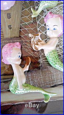 Vintage Mermaid Set Pink and Green Wall Plaque Hanging