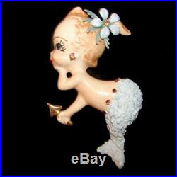 Vintage Mermaid Wall Plaque Ceramic Mom & Baby Hangting Set with Bubbles