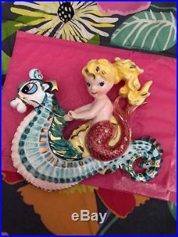 Vintage Mermaid Wall Plaque on Seahorse, Beautiful