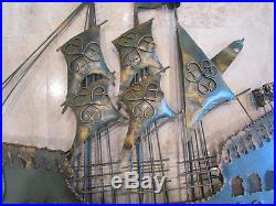 Vintage Metal Boat Wall Plaque Ornate Ship Clipper Nautical Decor Wall Hanging