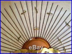 Vintage Mid Century 60s 70s Brutalist Metal Jere Style Sun Birds Wall Sculpture