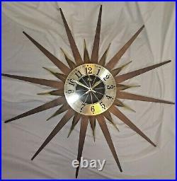 Vintage Mid Century Atomic Modern Welby Starburst Wall Clock Brass Teak 24 in d