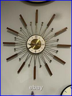 Vintage Mid Century Atomic Modern Welby Starburst Wall Clock Brass-tone, Teak