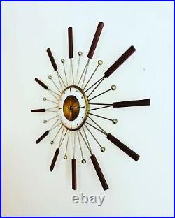 Vintage Mid Century Atomic Modern Welby Starburst Wall Clock Brass-tone & Teak
