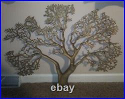 Vintage Mid Century Brass Tree of Life Metal Wall Art Brutalist Large