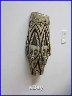 Vintage Mid Century Carved Tiki wall Hanger Plaque