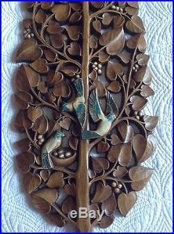 Vintage Mid Century Carved Wood Tree Birds Wall Hanging Panel Plaque Décor 36