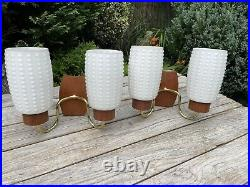 Vintage Mid Century Danish 50s 60s Teak And Glass Wall Lights Sconce
