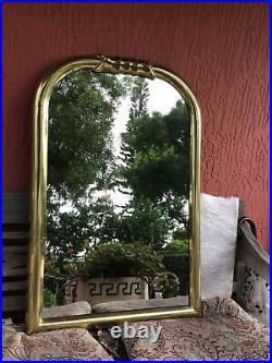 Vintage Mid Century Hollywood Regency Brass Wall Mirror 36 x 24