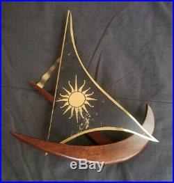 Vintage Mid Century Masketeers Teak & Brass Sailboats Wall Art Set MCM 1960s