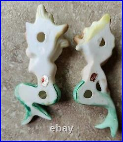 Vintage Mid Century Mermaid Babies Ceramic Wall Plaques Bradley Lot of 2 Japan