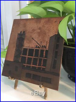 Vintage Mid Century Mod Copper Cityscape Etching Engraving Wall Plaque Artwork