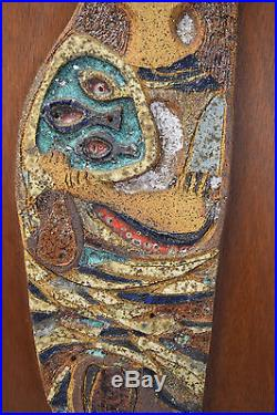 Vintage Mid-Century Modern Abstract Pottery Wall Plaque Sculpture Zwick Chicago
