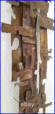 Vintage Mid Century Modern Brutalist Brass Wall Sculpture C Jere Large 58