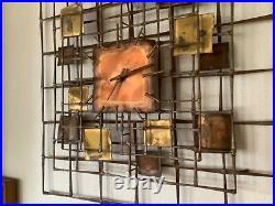Vintage Mid Century Modern Brutalist mcm Nail Art wall clock Brass