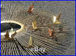 Vintage Mid Century Modern Danish Sunburst Sputnik BIRDS Metal Wall Sculpture