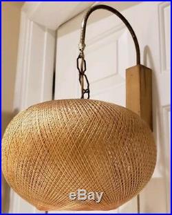 Vintage Mid Century Modern Eames Hanging Wicker Mushroom Wall Sconce Lamp Light