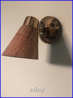 Vintage Mid Century Modern Fiberglass Burlap Brass Wall Light Lamp Sconce Set