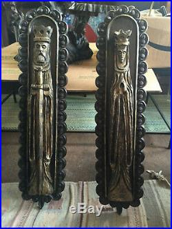 Vintage Mid Century Modern Gothic Medieval King & Queen Wall Plaques Sculptures