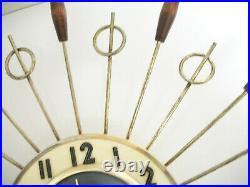 Vintage Mid Century Modern United Electric. Starburst Brass & Wood Wall Clock