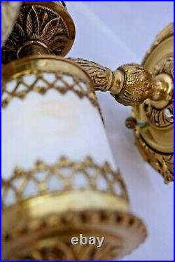 Vintage Mid Century Modern Wall Sconce Light Brass Glass Pair