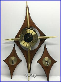 Vintage Mid Century Modern Welby Starburst Wall Clock Brass-tone