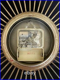 Vintage Mid Century Modern Welby Starburst Wall Clock Brass-tone with Teak Points