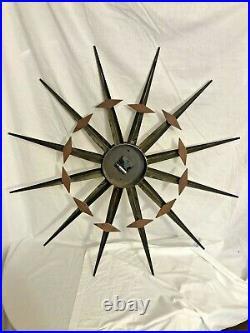 Vintage Mid Century Modern Welby Starburst Wall Clock Gold-tone, Teak, Battery