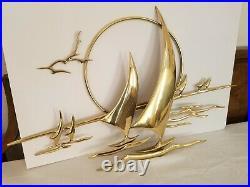 Vintage Mid Century Signed Bijan'88 Brass Wall Sculpture Sailboats Seagulls