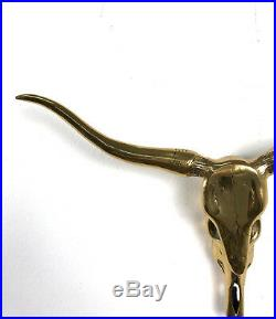 Vintage Mid Century Solid Brass Longhorn Steer Skull Head Horns Wall Sculpture
