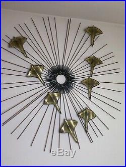Vintage Mid Century Sunburst & Birds Brutalist Metal Wall Art Sculpture