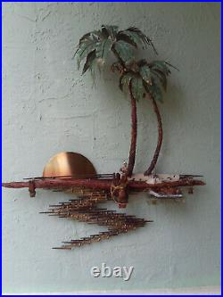 Vintage Mid Century Treasure Island Brass Metal Wall Sculpture Denis Dengel