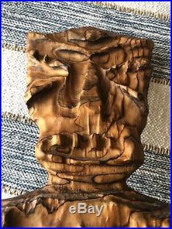 Vintage Mid Century Witco Carved Wood Hawaiian Tiki God Wall Hanging Plaque 60s