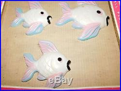Vintage Miller Wall Plaque Decoration Hand Painted Chalkware Fish Unused New